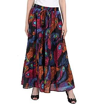 COTTON BREEZE Women Maxi Skirt (FP238_Multicolored_Free Size)