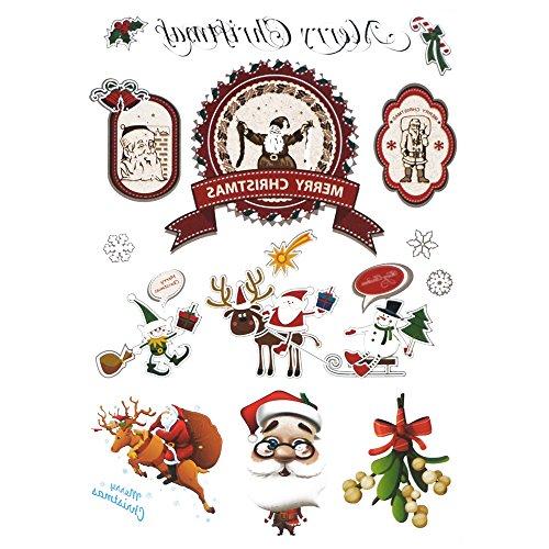 COKOHAPPY Natale Temporanei Temporaneo Tatuaggi Tattoo Carina Alce Pupazzo di neve Santa Claus Per Kid