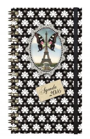 *** 2016 *** EXACOMPTA - Agenda Cakes Eurotime 16W Eiffel Papillon. Semainier 16x9cm 2016