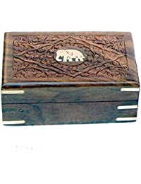 Wooden Rectangle Jewellery Box For Women Jewel Organizer Hand Carving Elephant Handmade Gift Item For Home Table...
