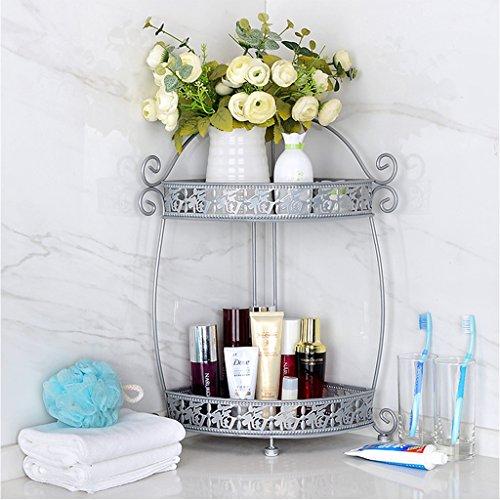 Wubing Badezimmerregal Rostfreies weißes Metallspeicher-freies Lochen 3-Tier-Draht-Regal, das Küche-Badezimmer-Toiletten-Ecken-Organisator-Bücherregal (Color : Three, Size : Layer) -