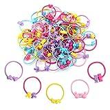 Hifot 100 pcs Elastische Haarbänder Mädchen Kinder Haargummis Pferdeschwanz-Halter Multi-Color Gummi Pferdeschwanz Dehnbares Haarband