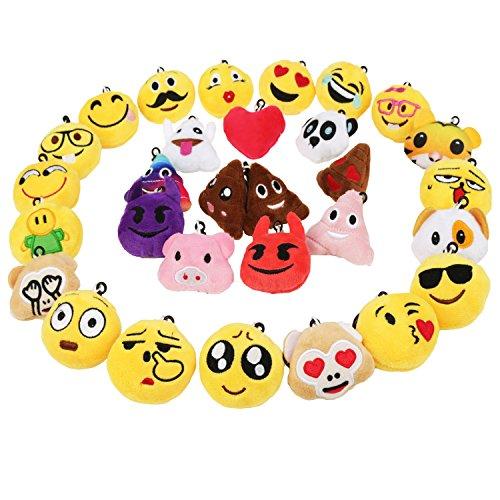 Zindoo 30 Emoji Schlüsselanhänger Plüsch Tasche Anhänger 5cm Kindergeburtstag Spielzeug Plüsch Kissen Geschenke für Kinder, Party Geburtstag Anhänger Dekorationen Zubehör für Taschen und Rucksäcke