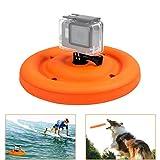 D & F Multifunktionaler Gummi Schwimmende Pfanne Montieren für GoPro Campark AKASO Action Kamera, Schwimmauftrieb wasserdicht Fliegende Scheibe Hundetraining Spielzeug