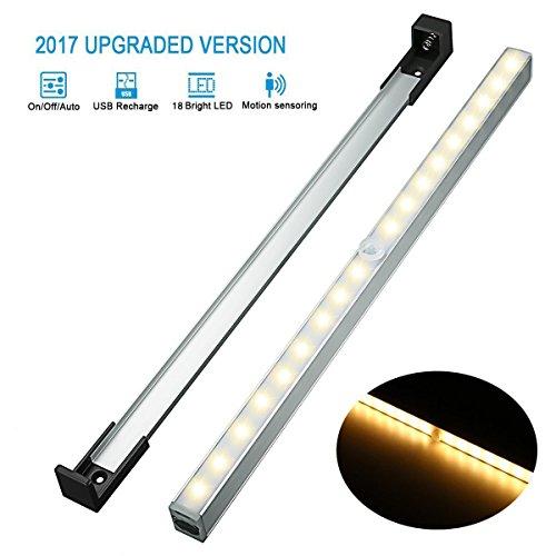 Lampe Placard LED, Elfeland Veilleuse Détecteur de Mouvement 18 LEDs Rechargeable USB LED Lampe Armoire avec Capteur D'infrarouge Sans Fil 3 Modes, pour Escalier Penderie Cusine Toilette Blanc Chaud