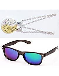 Sheomy Combo Of Friendship Coin Best Friends Pendant And Blue Mercury Wayfarer Sunglasses Best Online Gifts