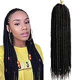 (6Packs, 45.7cm) Senegal Box Crochet Braid Hair Tresses Sénégalaises Twist 3X Crochets Tresses Synthétiques Tresses Extensions Cheveux 20 Brins/pack (18 Pouces, 1B)