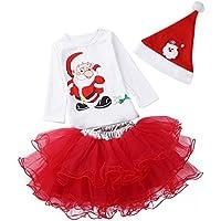 MORESAVE Neonate vestiti di Natale costume Cappello + camicia + pannello esterno del tutu del partito Outfits