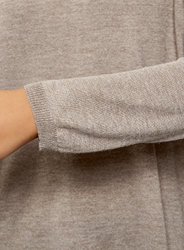oodji Ultra Damen Lässiger Pullover mit U-Boot-Ausschnitt Beige (3300M)