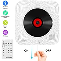 CD Player Bluetooth an der Wand montierbaren tragbaren CD-Musik-Player mit Fernbedienung für Kinder und Studenten, FM-Radio Eingebauter HiFi-Lautsprecher, unterstützt USB/MP3/3,5 mm Kopfhörerbuchse/AUX Eingang-Ausgang (weiß)