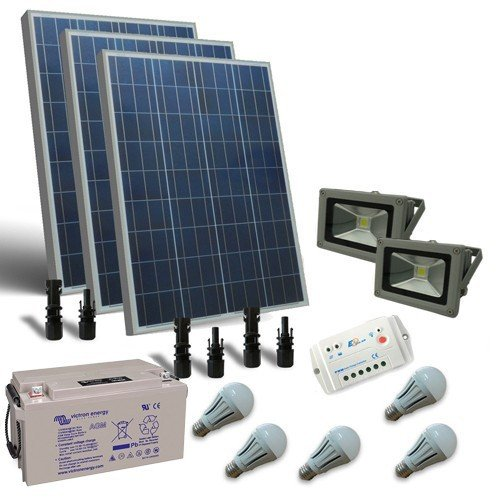 Solarleuchte Kit LED 300W 12V fur Innere und extern Photovoltaik Batterie 90Ah