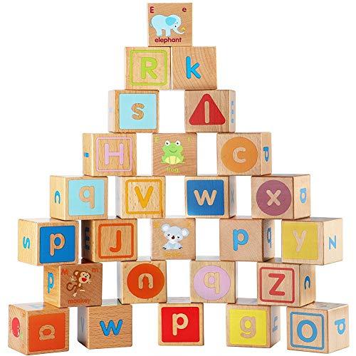 Bloques de madera del ABC Juegos de construcción extra grande 26pcs bloques huecos del alfabeto las letras de molde Set juguetes educativos para los niños pequeños para niños