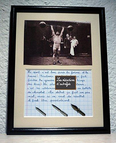 tableau-retro-humoristique-avec-photo-ancienne-et-texte-ecrit-a-la-plume-sur-le-sport-et-les-sportif