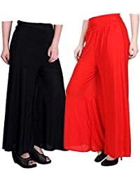 ZENTILIX Stretchable Designer Plain Casual Wear Palazzo Pant Red & Black For Women's - Free Size. (Set Of 2)