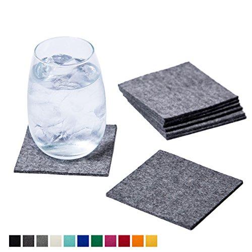 Smacc Filzuntersetzer, quadratisch 8er Set (Farbe wählbar) – Glasuntersetzer aus 100% Schafwolle, Untersetzer für Bar und Tisch Einrichtungsideen als Tischdeko (Grau)