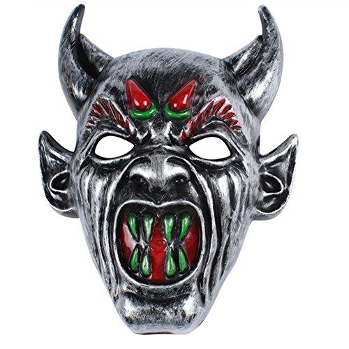 Demarkt Dämonen Horn Maske Halloween Maske Halloween Cosplay Kostüm Maske Kunststoff 20*26cm Silber Farbe