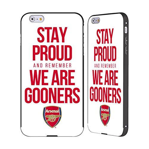 Ufficiale Arsenal FC Siate Fieri Gooners Nero Cover Contorno con Bumper in Alluminio per Apple iPhone 6 Plus / 6s Plus Siate Fieri