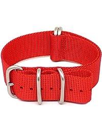 daluca Ballistic Nylon Otan Correa de Reloj–Rojo (mate), diseño de cuerdas: 24mm
