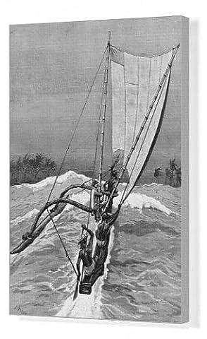 Canvas Print of A Surf-Boat, Sri Lanka, 1887