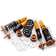 Gowe Coilovers Shock puntales para BMW E46 Serie 3 M3 318 320 323 98 – 02 ajustable, 24 Amortiguador de manera Coilovers Shock puntales + Top Mounts Camber Plate 98 – 05