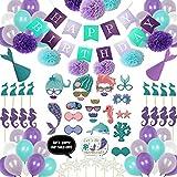 Geila Palloncini Sirena Articoli per Feste 102 Pezzi Decorazione di Compleanno con Puntelli per Foto