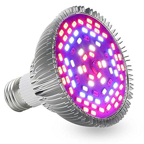 InteTech Led Grow Light, Plein Spectrum 78 LED Indoor Garden Plant Grow ampoule - 15W E27 (30 LED bleue & 42 LED rouge & 6 jaune LED) Lampe hydroponique pour plantes de fleurs (15W)