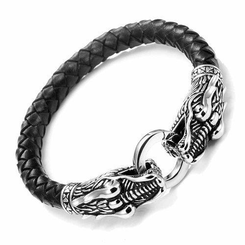 Pulsera de cuero negro con cierre de cabezas de dragones de metal