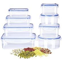 DEIK Tupperware fiambrera de plástico envase de alimento Set, 8unidades, contenedor de almacenamiento de alimentos con tapa de bloqueo tapa, microondas, horno, congelador, apta para lavavajillas