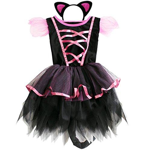 en Katze Kostüm Cosplay Halloween Kostüm Karneval Fasching Partykleid Verkleidung mit Orhen (110-116, Schwarz + Rosa) (Mädchen Mit Katze Kostüm)