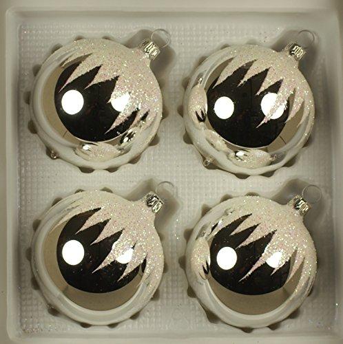 Boules argenté schneedachdekor d 7 cm lot de 4 décorations de noël décorations de noël en verre soufflé à la bouche, verre original lauschaer porcelaines-décorées main