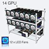 Tanli Open Air Mining Rig Stackable Frame 14 GPU Case With 12 LED Fans For ETH/ETC/ ZCash Black
