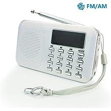Mini Radio AM FM Haut-Parleur Lecteur de Musique MP3 Support Carte TF/Disque USB PRUNUS avec Fonction rechargeable et Lampe-torche de secours