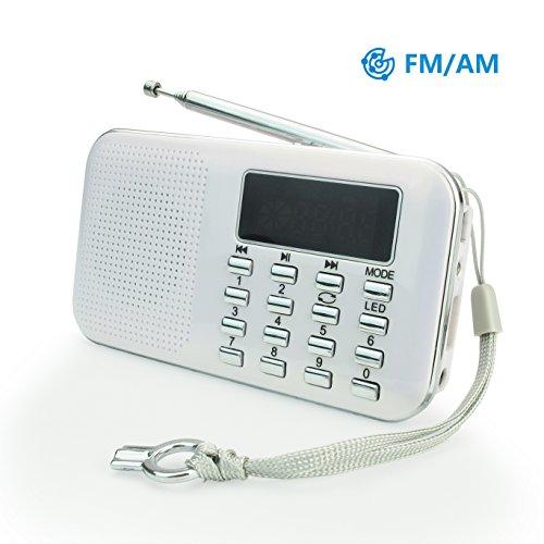 PRUNUS L-218AM-WHITE FM AM Radio mit Micro TF Card USB MP3, Weiß, White (Am / Fm Radio Batteriebetrieben)