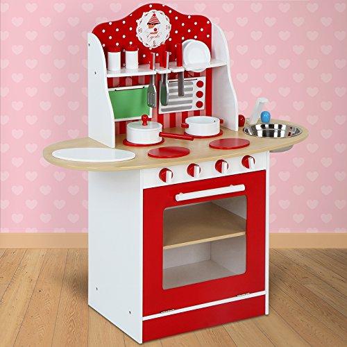 Infantastic Realistische Kinderküche Spielküche Holzküche aus Holz mit 12-teiligem Zubehör-Set