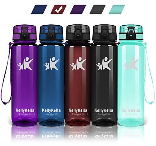 KollyKolla Trinkflasche - BPA-frei Auslaufsicher Sport Wasserflasche, 500ml Tritan Sportflasche Kohlensäure Geeignet Kunststoff mit Filter für Kinder, Schule, Baby, Fahrrad, Gym, Glossy Dunkelrot