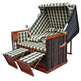 XINRO® - XY-10 - Balkon Strandkorb inkl. Premium Strandkorb Schutzhülle u. 4x Kissen - Karo grün - braunes Holz, Form: Nordsee Strandkorb
