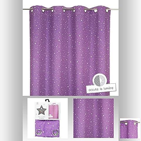 Atmosphera for Kids - Cortina opaca, con ojales, diseño con estrellas estampadas, para habitaciones