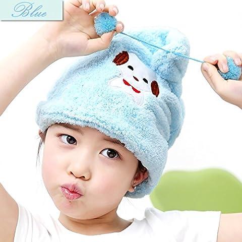 Shintop Dry Hair Cap - Fiber Soft Coral Fleece Hair Dry Hat Absorbent Hair Wrap Cap for Kids (Blue) by Shintop