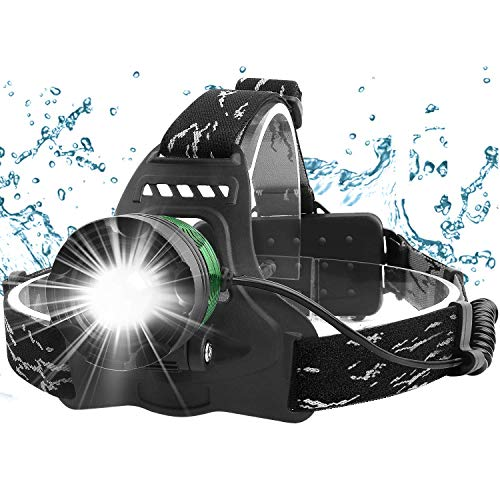 Zenoplige LED Stirnlampe, Kopflampe USB Wiederaufladbare,IPX6 Wasserdicht Leichtgewichts Zoombar Kopfleuchte mit Rote Signalleuchte,Stirnleuchte für Laufen Joggen Angeln Camping Radfahren