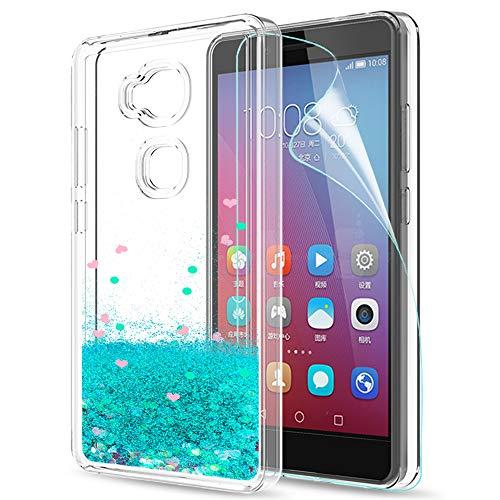 LeYi Hülle Huawei Honor 5X / GR5 Glitzer Handyhülle mit HD Folie Schutzfolie,Cover TPU Bumper Silikon Flüssigkeit Treibsand Clear Schutzhülle für Case Huawei Honor 5X/GR5 Handy Hüllen ZX Turquoise