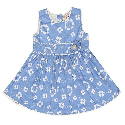 New 4 New Blue Cotton Frocks For Girls( Pack Of 1)