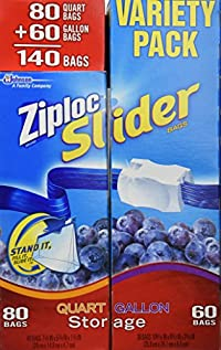 Ziploc Easy Zipper Quart & Gallon Variety Pack, 140 Bags