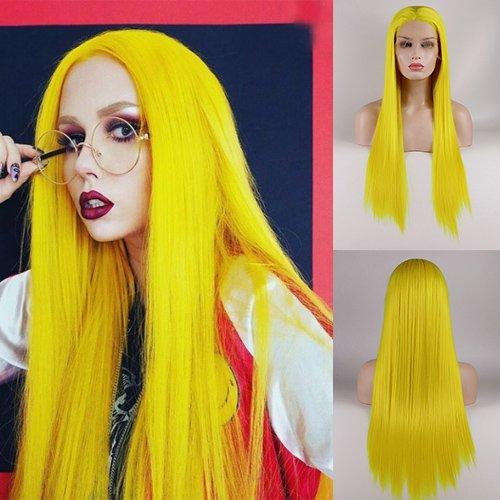 Blue Bird gelbe Kunsthaarperücke mit langem, geradem Haar und einem Pony, handgefertigte Ersatzperücke für Damen, für eine Party, Show oder als Cosplay-Kostüm