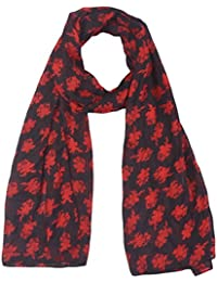 SCURF CORNER Women's Cotton Dupatta (Black & Red)