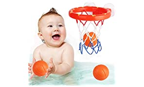 Addmos Bath toys, Basketball Hoop&Balls Set with 3 Balls for Baby Kids Toddlers