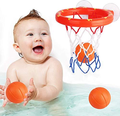 Addmos Badespielzeug, Ballspiele Korb für die Wanne mit 3 Bällen und Saugnäpfen für Kleinkinder