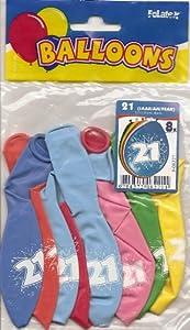 Folat-21 Globos de cumpleaños 30 cm - 8 Unidades, Multicolor, Costumes (08221)