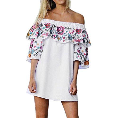 Blumen Kleid Sommer Strand Partei weg vom Schulter Minikleid (L, Weiß) (Dessous-party Dekorationen)