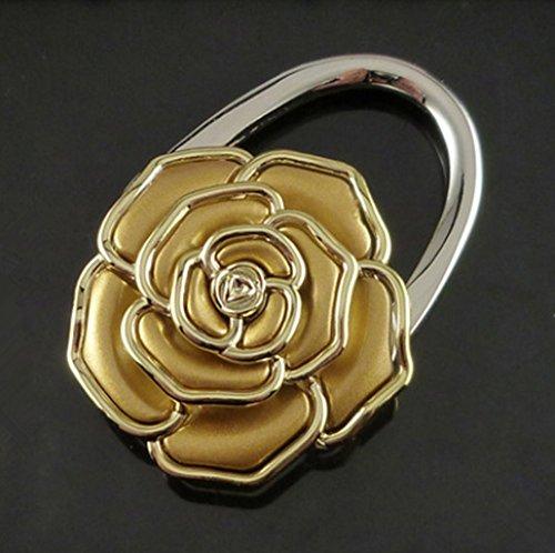ANKKO Rose Blume Faltbare Handtasche Beutel Aufhänger Halter Tabelle Haken (Gold) (Gold Tabelle)