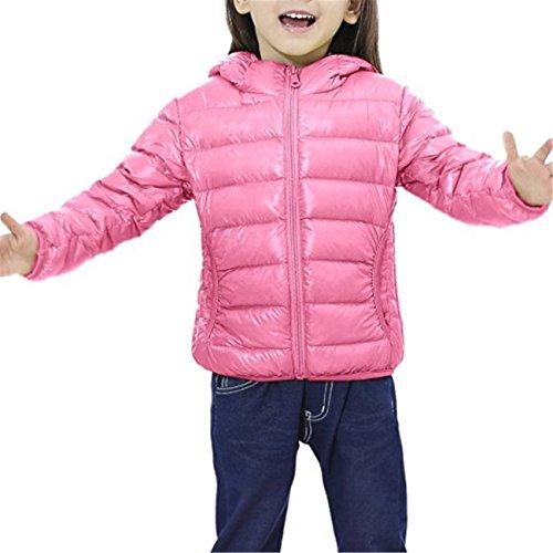 Tailloday Kinder Unisex Kids Daunenjacke Steppjacke mit Kapuze Jacket Übergangsjacke Herbst Winter (EU 86/92 (Etikett 90), Pink)